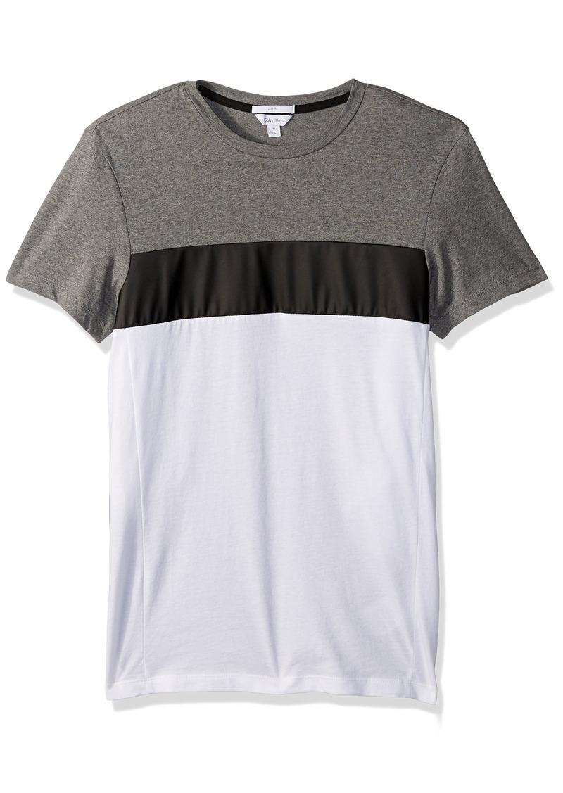 b33891084d Men's Slim Fit Short Sleeve Tri Color Blocked Crew Neck T-Shirt