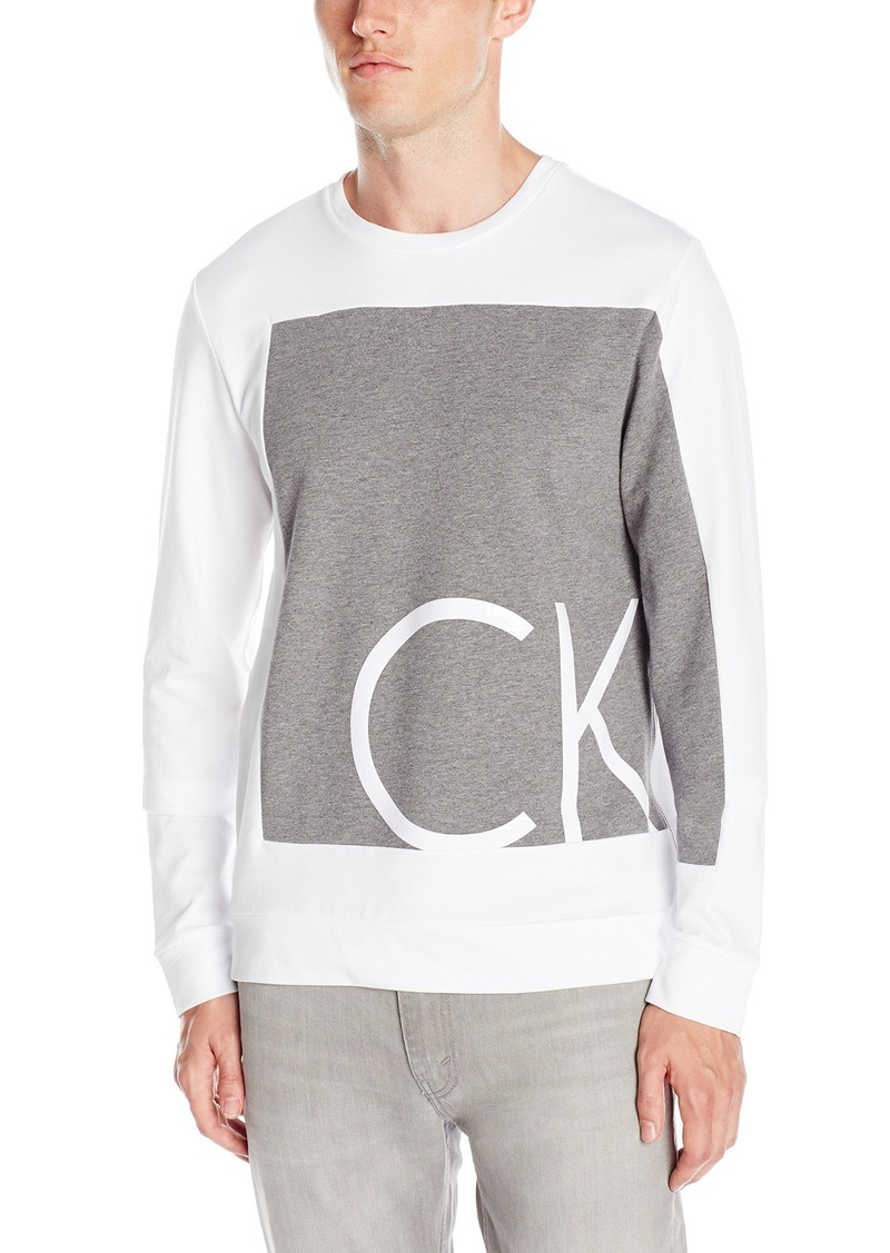 8b9889b2 Calvin Klein Men's Slim Fit Solid Printed Ck Logo Long Sleeve Crew Neck T- Shirt
