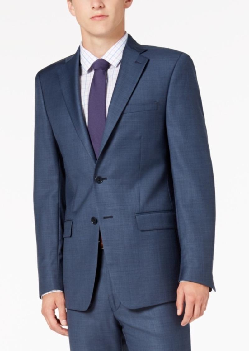 Calvin Klein Men's Classic-Fit Stretch Blue Neat Suit Jacket