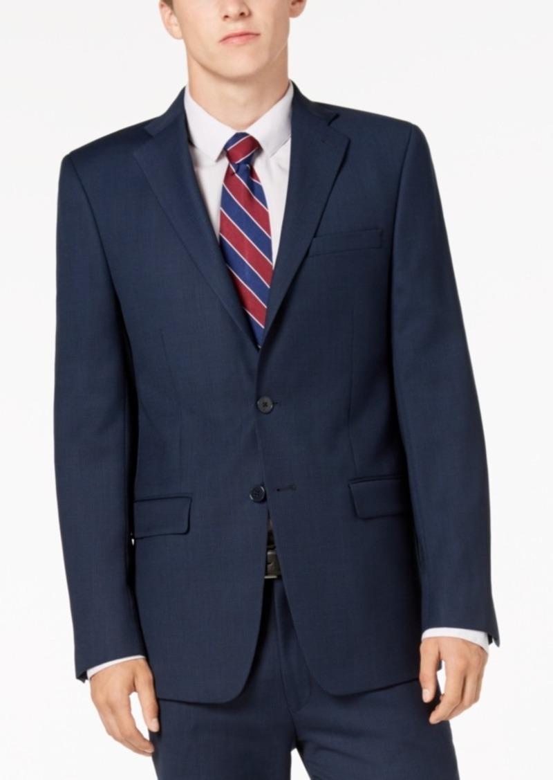 Calvin Klein Men's Slim-Fit Stretch Blue/Charcoal Birdseye Suit Jacket
