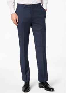 Calvin Klein Men's Slim-Fit Stretch Blue/Charcoal Birdseye Suit Pants