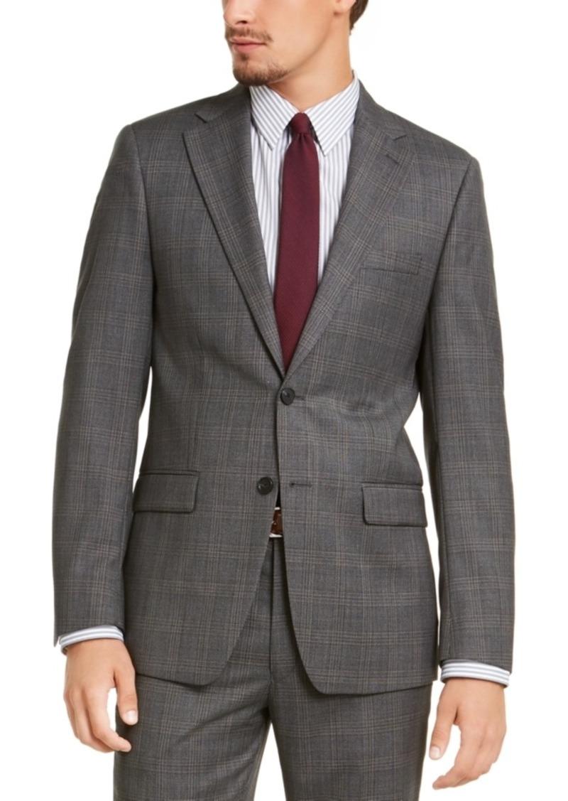 Calvin Klein Men's Slim-Fit Stretch Gray Plaid Suit Jacket