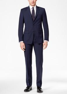 Calvin Klein Men's Slim-Fit Stretch Navy/Charcoal Mini-Windowpane Suit