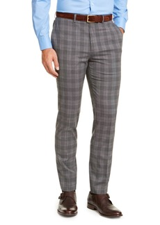Calvin Klein Men's Slim-Fit Stretch Wrinkle-Resistant Gray/Black Plaid Dress Pants