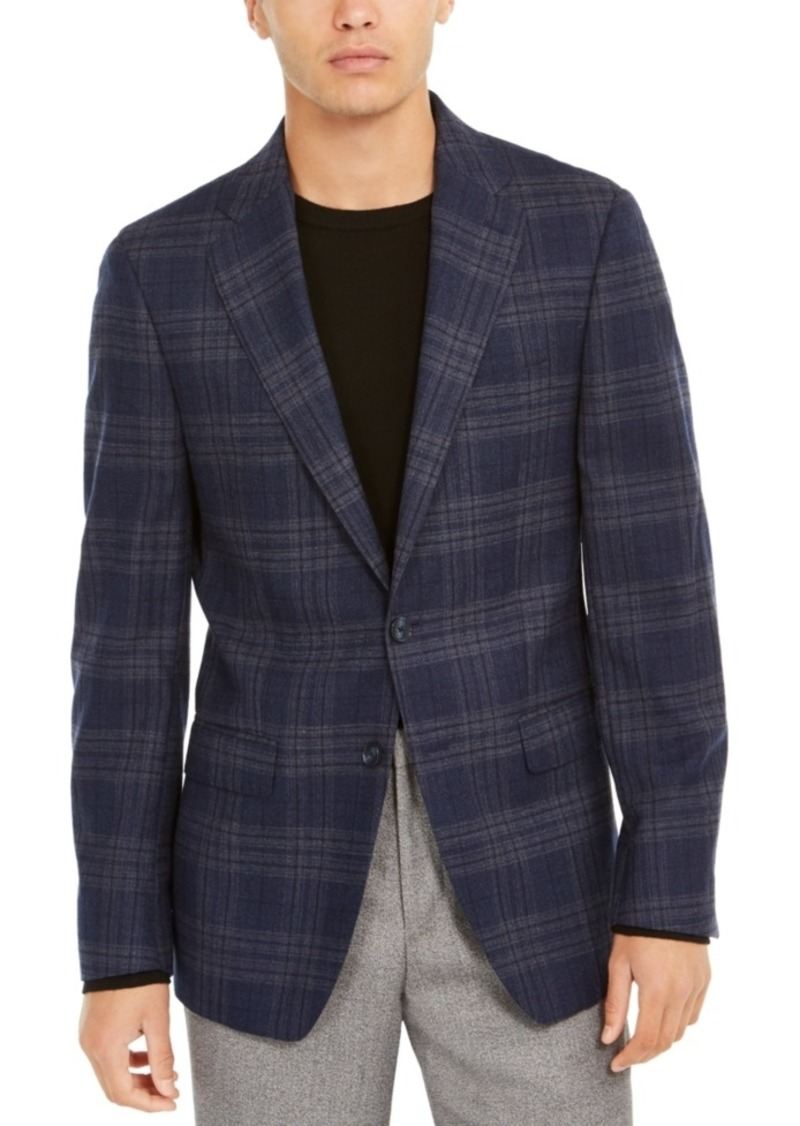 Calvin Klein Men's Slim-Fit Windowpane Plaid Wool Sport Coat
