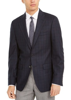 Calvin Klein Men's Slim-Fit Windowpane Wool Sport Coat