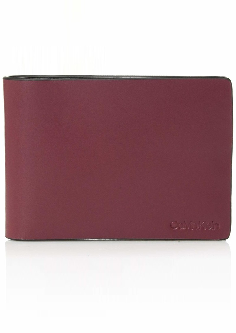 Calvin Klein Men's Slimfold Wallet with Embossed Logo red rock