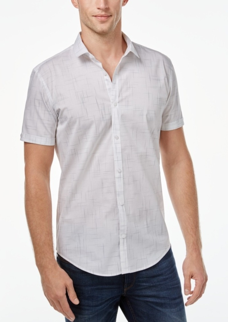 Calvin Klein Men's Solid Seersucker Short-Sleeve Shirt