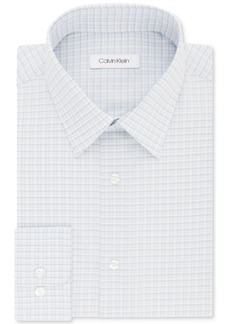 Calvin Klein Men's Steel Classic/Regular Fit Non-Iron Performance Blue Check Dress Shirt