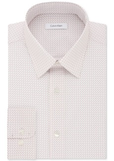 Calvin Klein Men's Steel Classic/Regular Fit Non-Iron Performance Pink Multi Print Dress Shirt