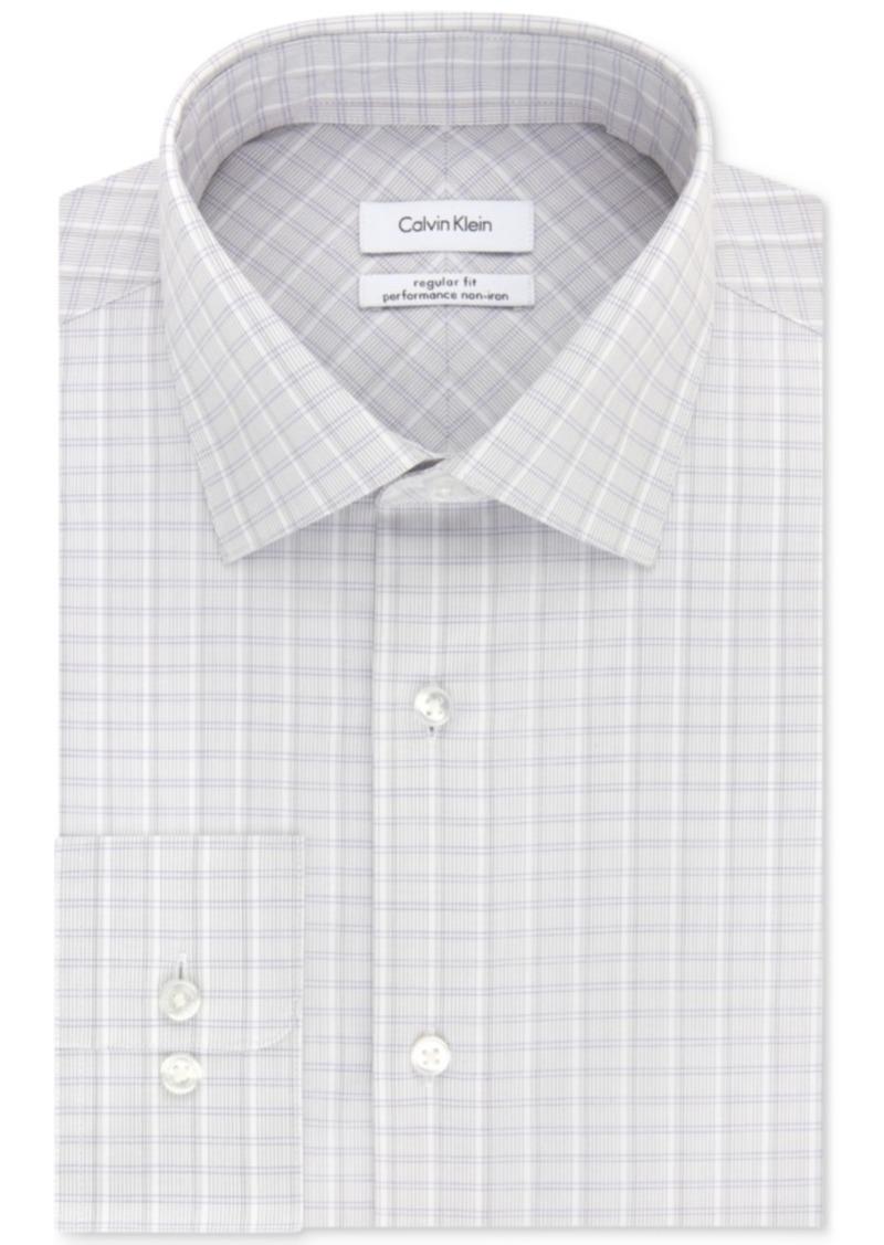 Calvin Klein Men's Steel Classic/Regular Fit Non-Iron Performance Purple Check Dress Shirt
