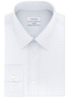 Calvin Klein Men's Steel Classic/Regular Fit Non-Iron Performance Stretch Blue Print Dress Shirt