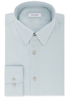 Calvin Klein Men's Steel Classic/Regular Fit Non-Iron Performance Stretch Blue Print Dress Shirt