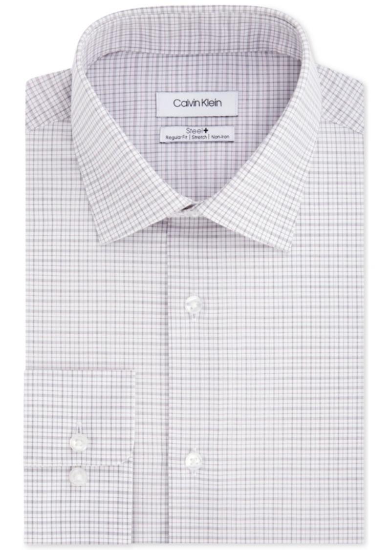 Calvin Klein Men's Steel Classic/Regular Fit Non-Iron Performance Stretch Check Dress Shirt