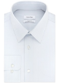 Calvin Klein Men's Steel Classic/Regular Fit Non-Iron Stretch Performance Blue Check Dress Shirt