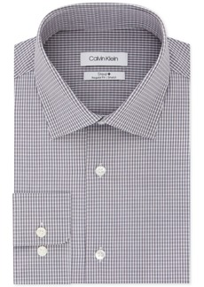 Calvin Klein Men's Steel Classic/Regular-Fit Performance Stretch Moisture-Wicking Non-Iron Aqua Check Dress Shirt