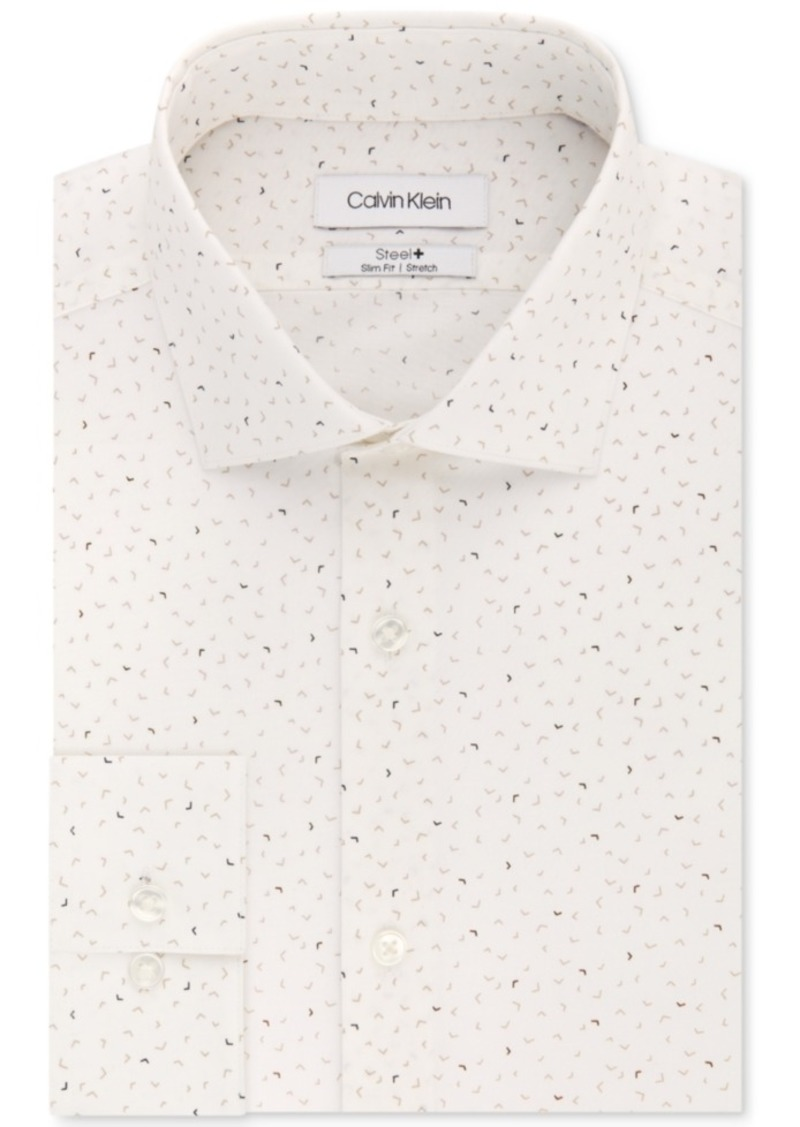 Calvin Klein Men's Steel Slim-Fit Non-Iron Performance Stretch Beige Print Dress Shirt