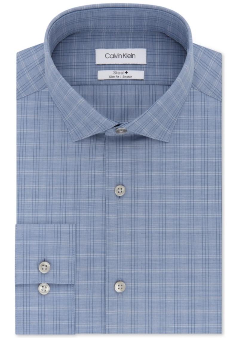 Calvin Klein Men's Steel Slim-Fit Non-Iron Performance Stretch Blue Plaid Dress Shirt