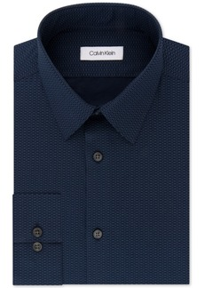 Calvin Klein Men's Steel Slim-Fit Non-Iron Performance Stretch Blue Print Dress Shirt