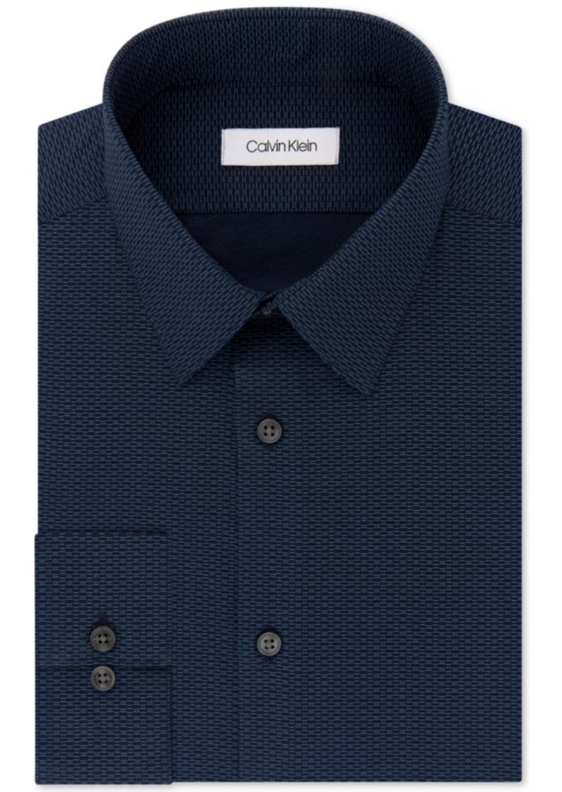 Calvin Klein Men's Steel Slim-Fit Non-Iron Performance Stretch Blue Print Dress Shirt
