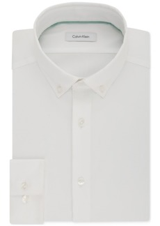 Calvin Klein Men's Steel Slim-Fit Non-Iron Performance Stretch Button Down White Dress Shirt