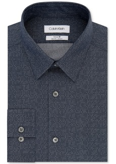 Calvin Klein Men's Steel Slim-Fit Non-Iron Performance Stretch Navy Print Dress Shirt