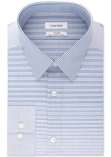 Calvin Klein Men's Steel Slim-Fit Non-Iron Performance Stretch Textured Dress Shirt