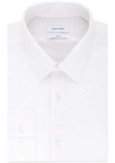 Calvin Klein Men's Steel Slim-Fit Non-Iron Stretch Performance Red Pattern Dress Shirt