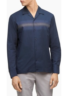 Calvin Klein Men's Striped Button-Down Long Sleeve Camp Shirt