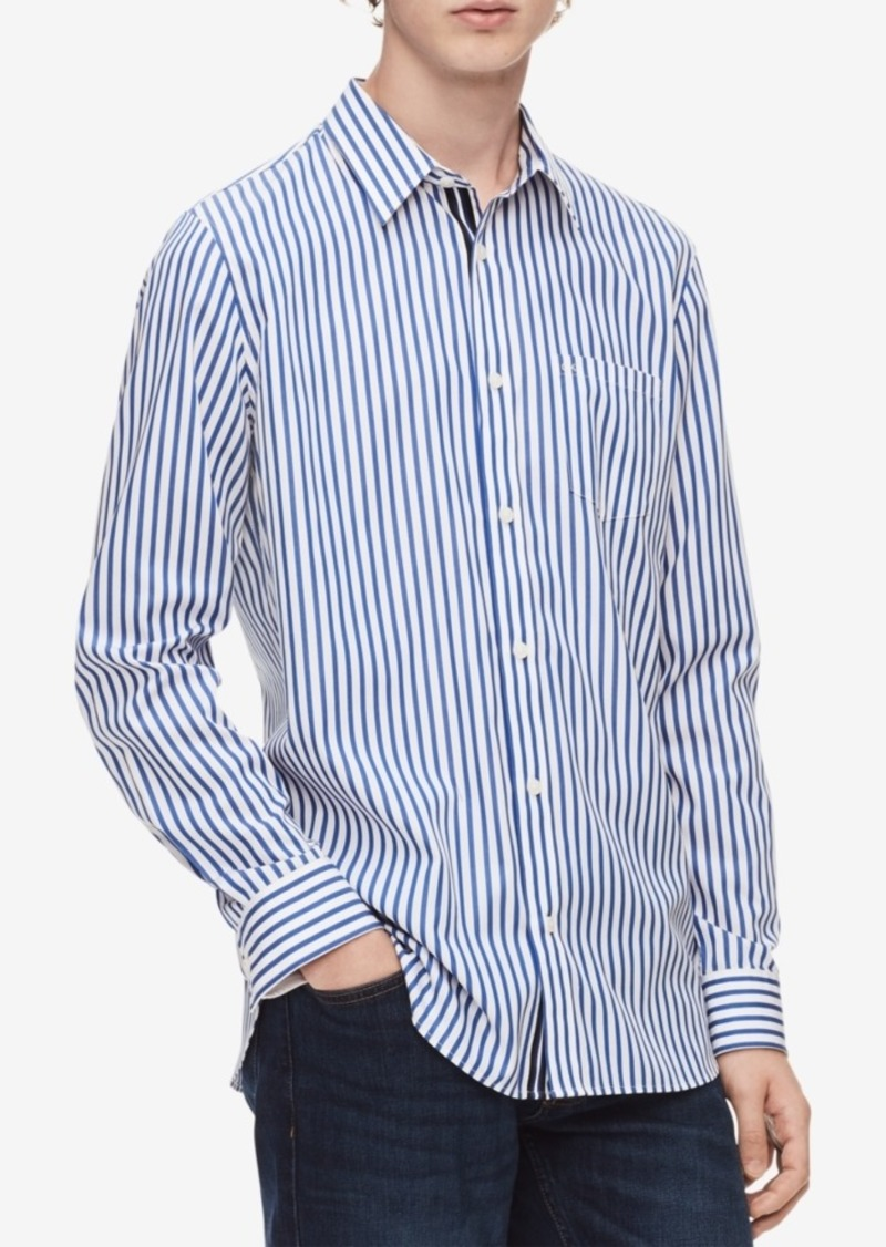Calvin Klein Men's Striped Set-On Placket Shirt