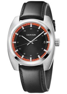 Calvin Klein Men's Swiss Achieve Black Leather Strap Watch 40mm x 49.75mm