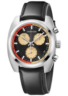 Calvin Klein Men's Swiss Chronograph Achieve Black Leather Strap Watch 40mm x 49.75mm