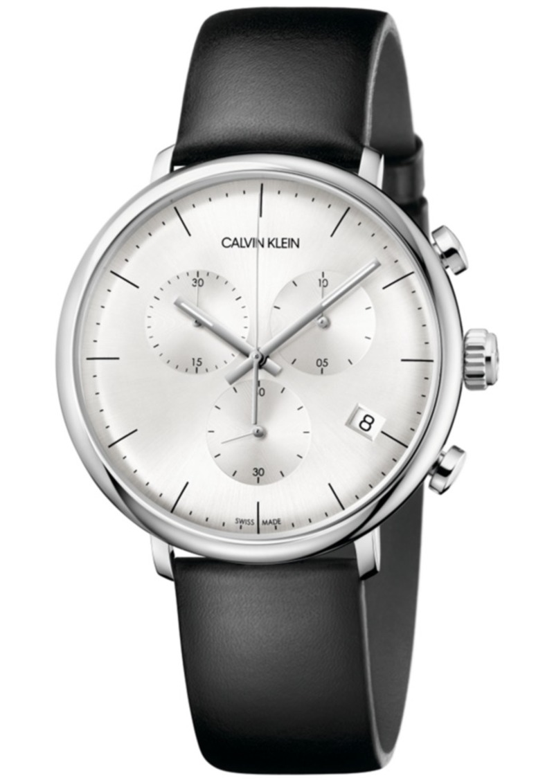 Calvin Klein Men's Swiss Chronograph High Noon Black Leather Strap Watch 40mm