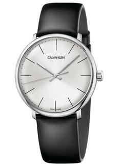 Calvin Klein Men's Swiss High Noon Black Leather Strap Watch 40mm