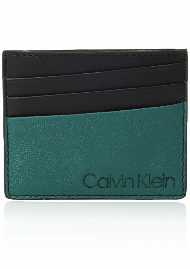Calvin Klein Men's Textured Card Case Armour green