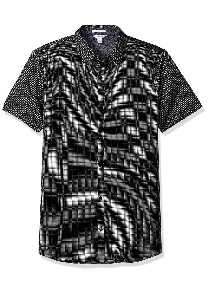 Calvin Klein Men's Textured Jacquard Coat Front Shirt