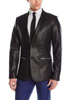 Calvin Klein Men's Two Button Notch Lapel Faux Leather Sportcoat  Large R