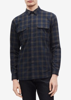 Calvin Klein Men's Two Pocket Brushed Twill Tattersall Shirt