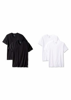 Calvin Klein Men's Undershirts Cotton Stretch 2 Pack V Neck Tshirts Black  and  White