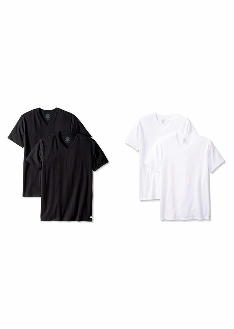 Calvin Klein Men's Undershirts Cotton Stretch 2 Pack V Neck Tshirts Black  and  White