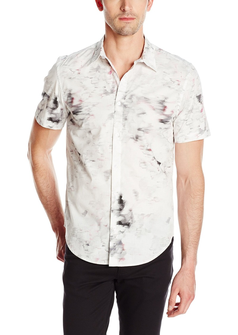 Calvin Klein Men's Water Print Plaid Collar Short Sleeve Button Down Shirt