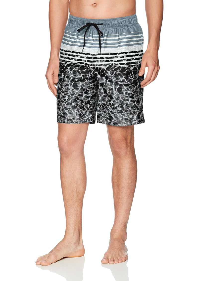 Calvin Klein Men's Water Stripe Printed Swim Trunk  Extra Extra Large