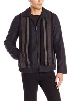 Calvin Klein Men's Wool Short Scarf Coat