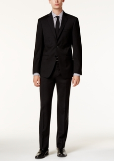 Calvin Klein Men's X-Fit Black Tonal Stripe Slim Fit Suit