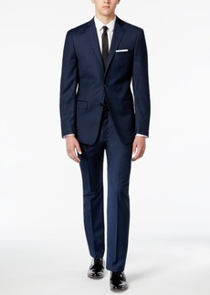 Calvin Klein Men's X-Fit Blue/Charcoal Birdseye Slim Fit Suit