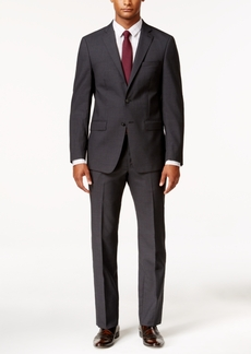 Calvin Klein Men's X-Fit Charcoal Grid Slim Fit Suit
