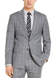 Calvin Klein Men's X-Fit Slim-Fit Infinite Stretch Light Gray Blue Plaid Wool Suit Separate Jacket