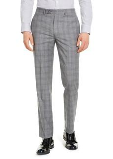 Calvin Klein Men's X-Fit Slim-Fit Infinite Stretch Light Gray Blue Plaid Suit Separate Pants