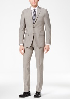 Calvin Klein Men's X-Fit Stretch Light Gray Solid Slim-Fit Suit