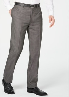 Calvin Klein Men's X Slim-Fit Stretch Charcoal Mini Grid Suit Pants